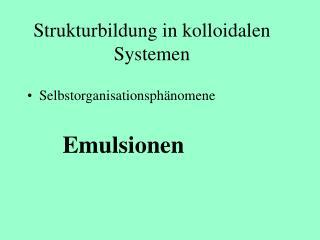 Strukturbildung in kolloidalen Systemen