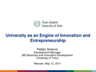 University as an Engine of Innovation and Entrepreneurship