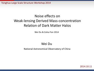 Noise effects on  Weak-lensing  D erived Mass-concentration Relation of Dark Matter Halos