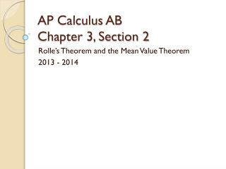 AP Calculus AB Chapter 3, Section 2