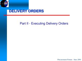 DELIVERY ORDERS