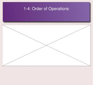 1-4: Order of Operations