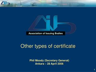 Other types of certificate