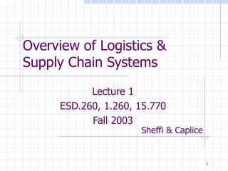 Overview of Logistics & Supply Chain Systems