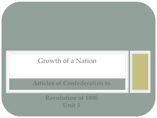 Articles of Confederation to Revolution of 1800 Unit 3