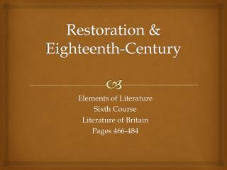 Restoration & Eighteenth-Century