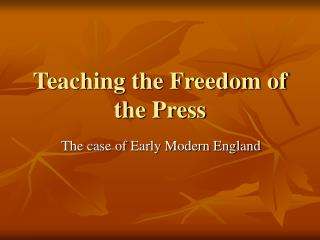 Teaching the Freedom of the Press