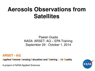Aerosols Observations from  Satellites