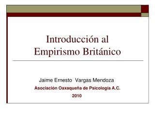 Introducci�n al Empirismo Brit�nico