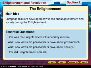Essential Questions How was the Enlightenment influenced by reason?