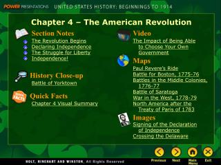 Chapter 4 � The American Revolution