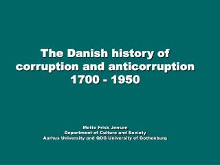 Civil servants in Denmark with misconducts in office 1736 - 1936