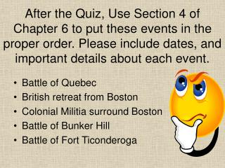 Battle of Quebec British retreat from Boston Colonial Militia surround Boston