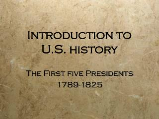 Introduction to U.S. history