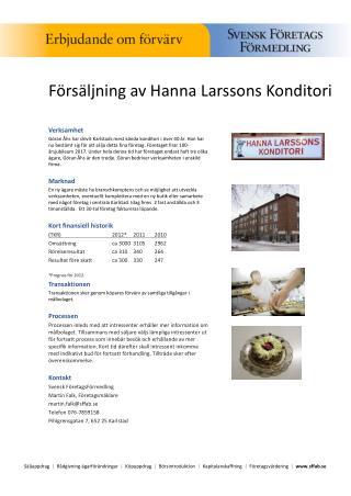 Försäljning av Hanna Larssons Konditori