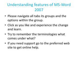 Understanding features of MS-Word 2007