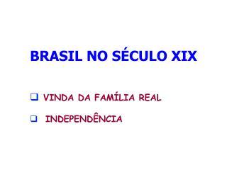 BRASIL NO SÉCULO XIX VINDA DA FAMÍLIA REAL   INDEPENDÊNCIA