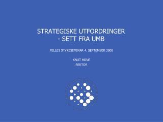STRATEGISKE UTFORDRINGER  - SETT FRA UMB