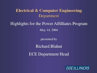 Electrical & Computer Engineering Department Highlights for the Power Affilliates Program