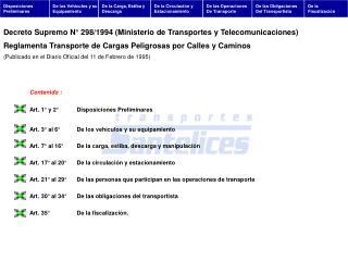 Art. 1° y 2°Disposiciones Preliminares Art. 3° al 6°De los vehículos y su equipamiento