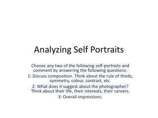 Analyzing Self Portraits