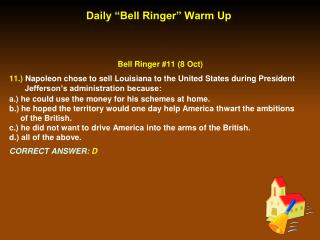 Daily �Bell Ringer� Warm Up