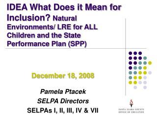 December 18, 2008 Pamela Ptacek SELPA Directors SELPAs I, II, III, IV & VII