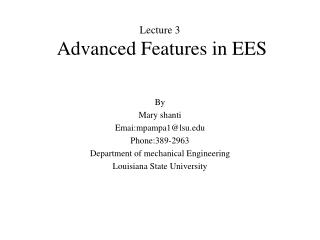 Lecture 3  Advanced Features in EES