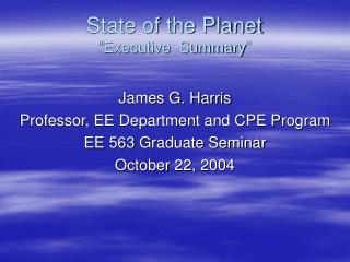 "State of the Planet ""Executive  Summary"""