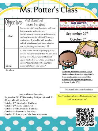 September 29 th  - October 3 rd