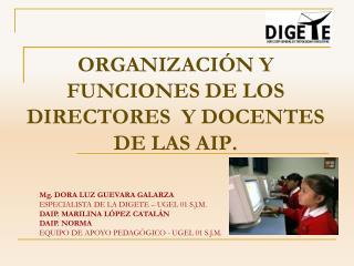 ORGANIZACI N Y FUNCIONES DE LOS DIRECTORES  Y DOCENTES DE LAS AIP.