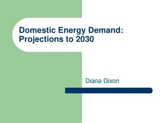 Domestic Energy Demand: Projections to 2030