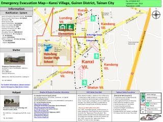 Emergency Evacuation Map—Kanxi Village, Guiren District, Tainan City