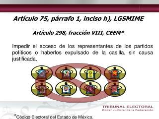 Artículo 75, párrafo 1, inciso h), LGSMIME Artículo 298, fracción VIII, CEEM*