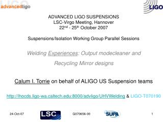 Calum I. Torrie  on behalf of ALIGO US Suspension teams