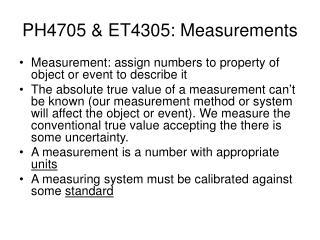 PH4705 & ET4305: Measurements