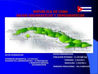 REPUBLICA DE CUBA DATOS GEOGRAFICOS Y DEMOGRAFICOS