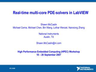 Real-time multi-core PDE-solvers in LabVIEW