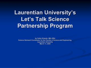 The Let's Talk Science Partnership Program  National Statistics
