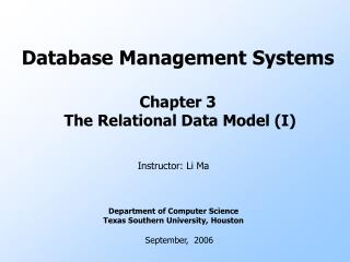 Database Management Systems Chapter 3  The Relational Data Model (I)