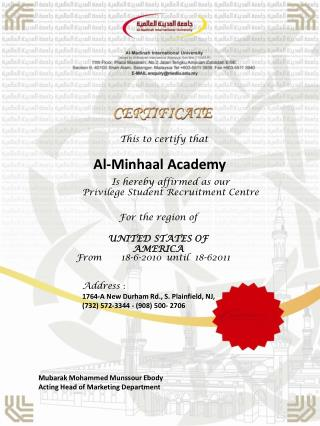 This to certify  that Al- Minhaal  Academy