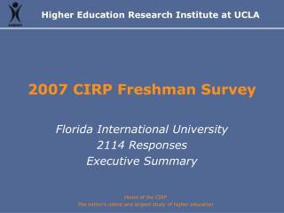 2007 CIRP Freshman Survey