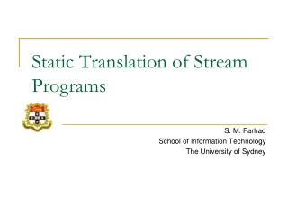 Static Translation of Stream Programs