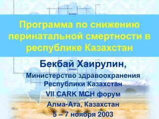 Программа по снижению  перинатальной смертности в республике Казахстан