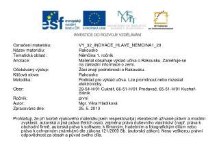 Označení materiálu:  VY_32_INOVACE_ HLAVE_NEMCINA1_20 Název materiálu:Rakousko