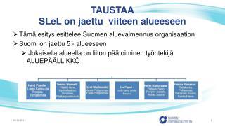 TAUSTAA SLeL  on jaettu  viiteen alueeseen