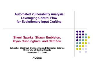 Automated Vulnerability Analysis:  Leveraging Control Flow  for Evolutionary Input Crafting