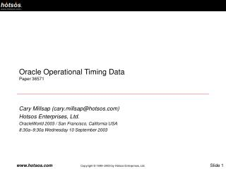 Oracle Operational Timing Data Paper 36571