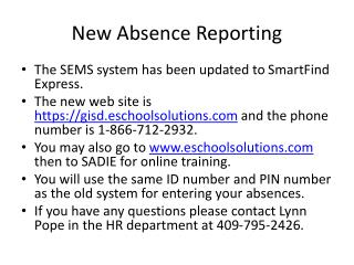 New Absence Reporting