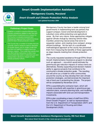 Smart Growth Implementation Assistance Montgomery County, MD Fact Sheet